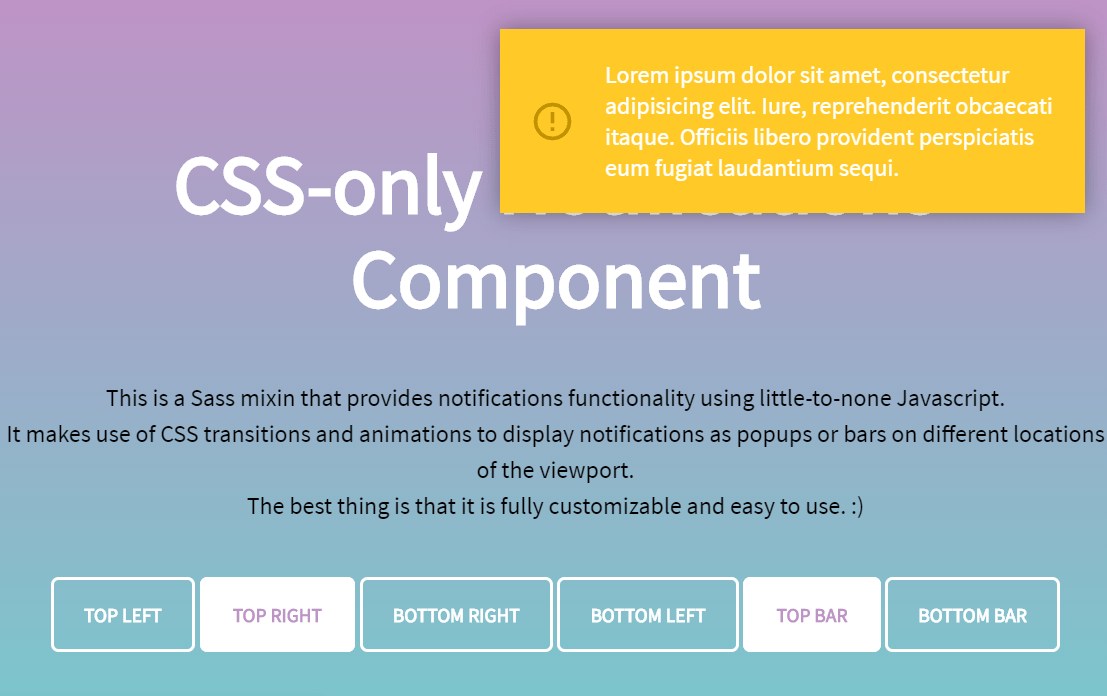 CSS Only Web Notifications Component Snippet