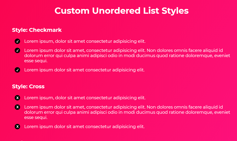 Custom HTML Unordered List CSS Style