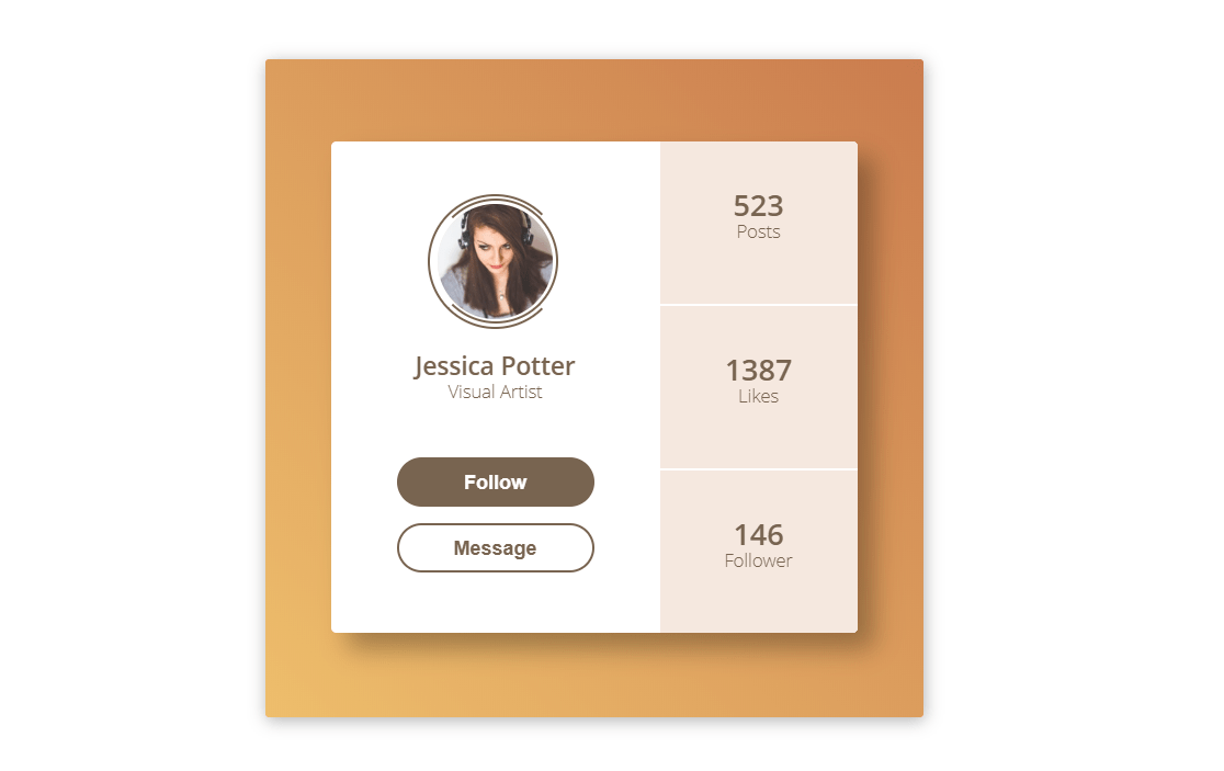 Flat Profile Card Account HTML CSS