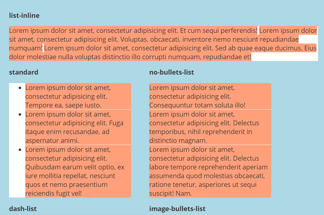 HTML Unordered Bullet List CSS Styles