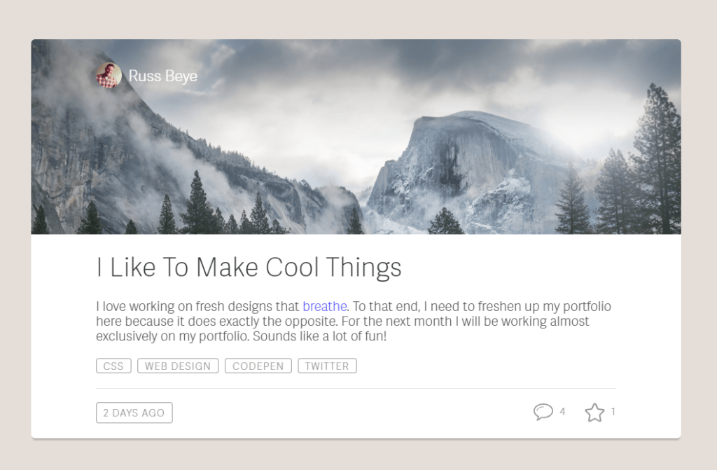 Material Design Card CSS Blog Entry Layout