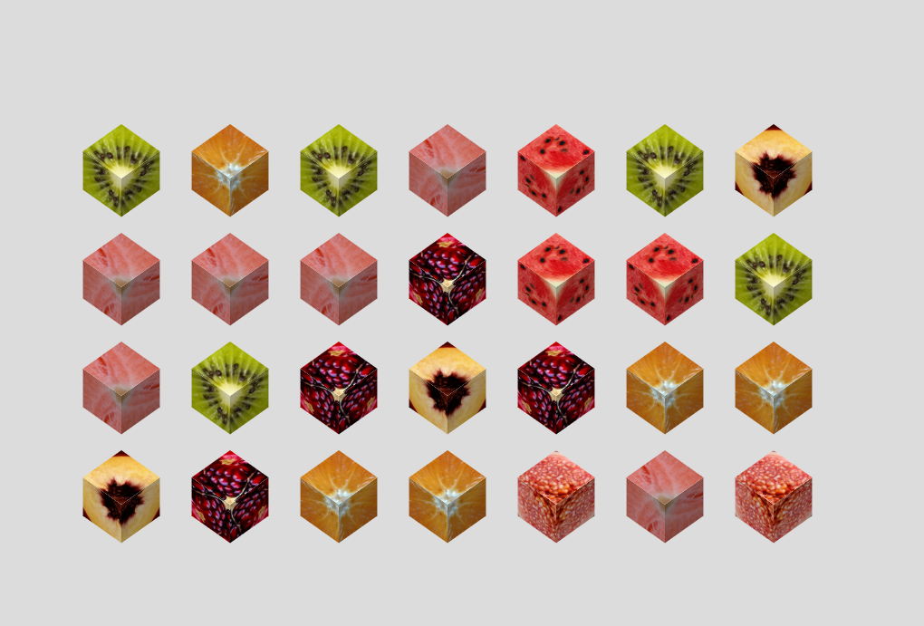 Simple CSS Fruit Cubes Design Example