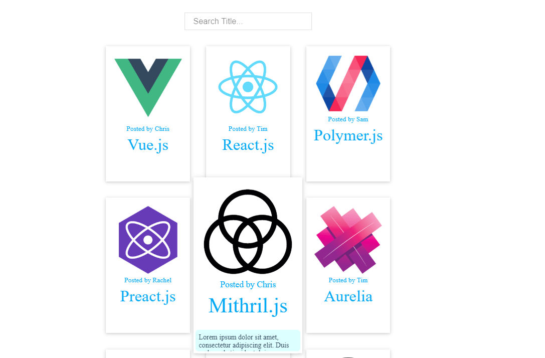 Card Template Hover Effect with VueJS