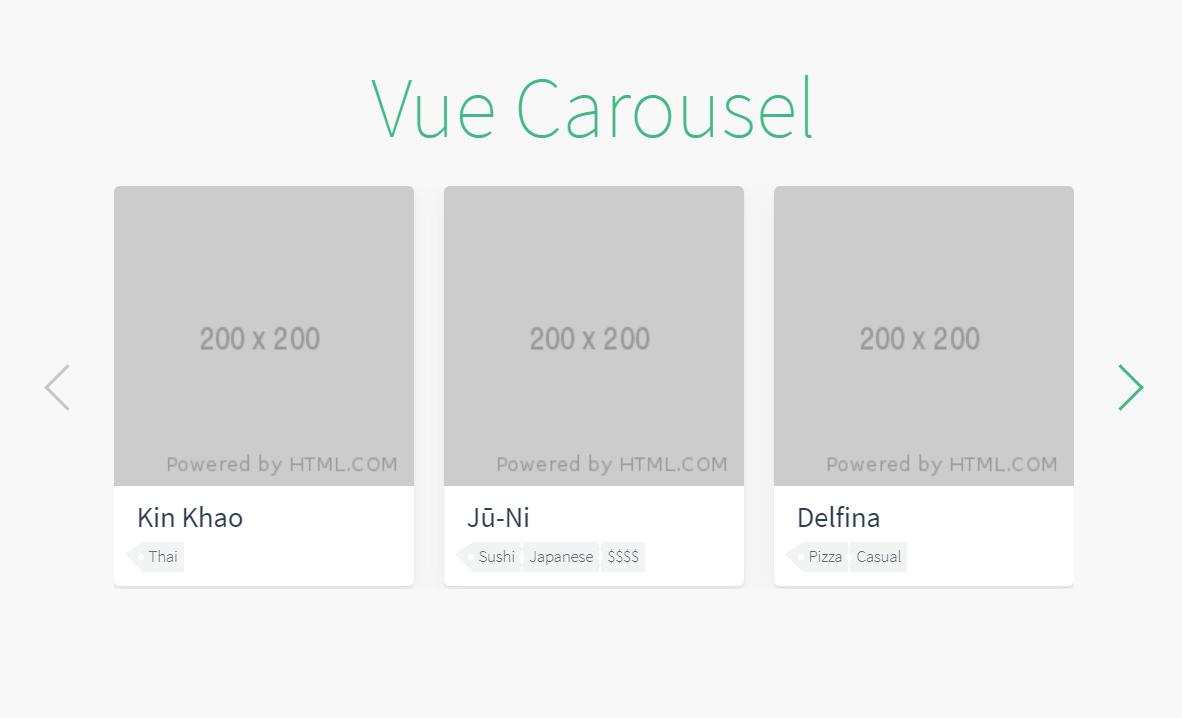 Carousel Vue JS Card Component