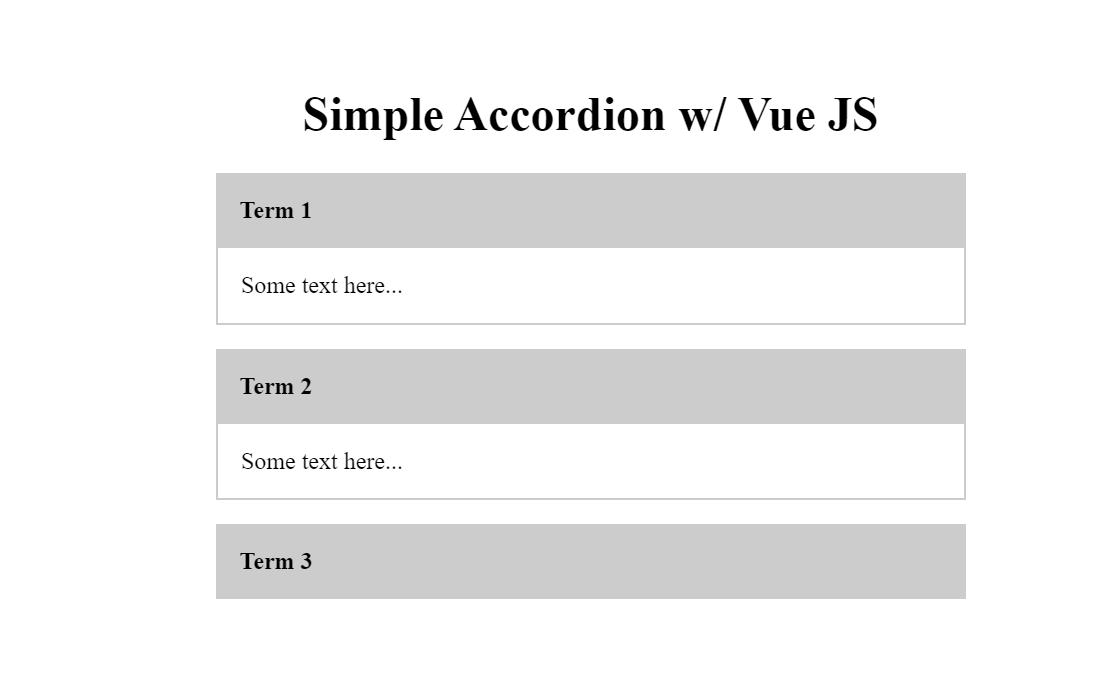 Simple Accordion Using Vue.js