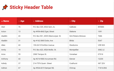 Vue Table Sticky Header Concept