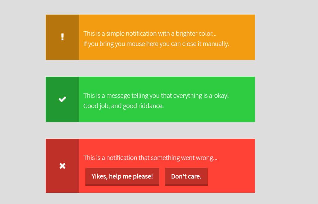JS Notification Box Design