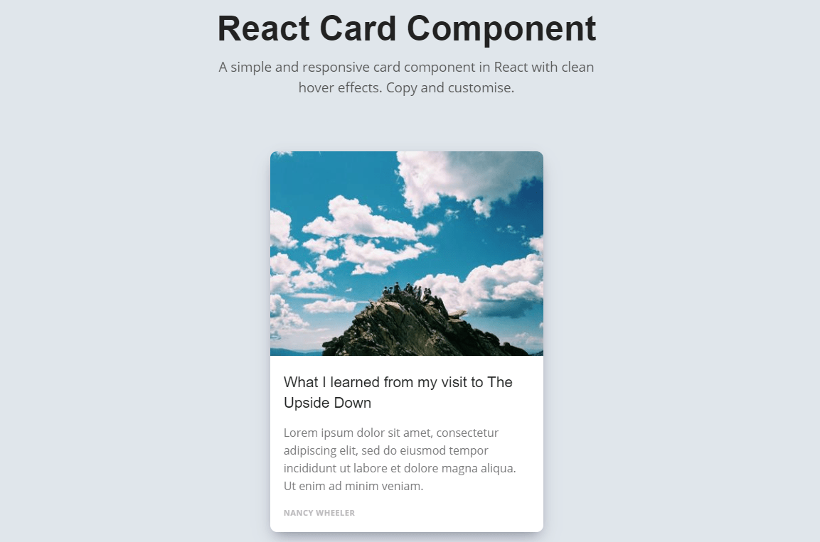 React Cards Component with Hover Effect