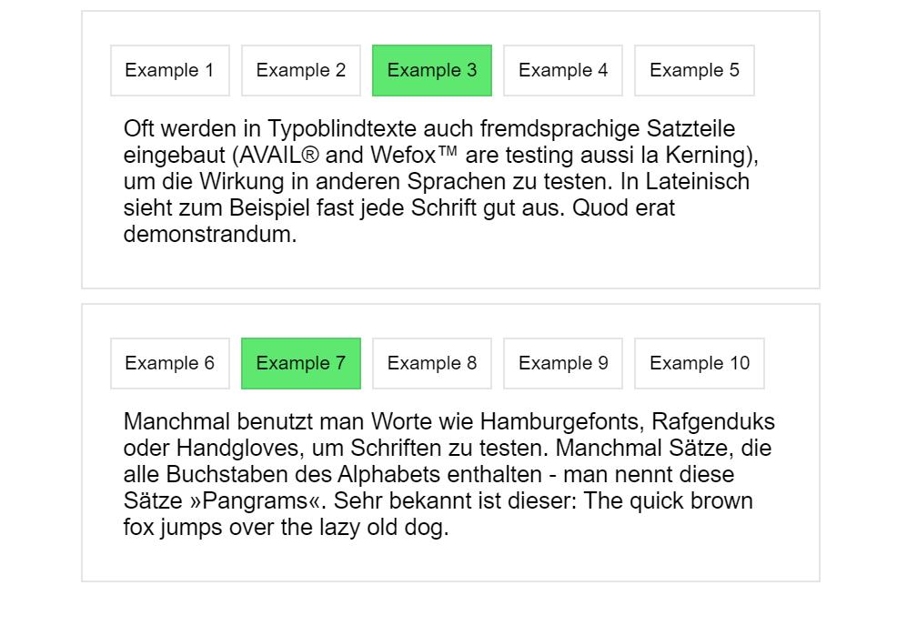 Vanilla JS Tabs Example