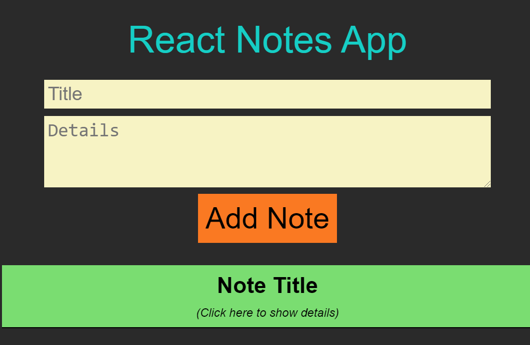 Simple React Notes App