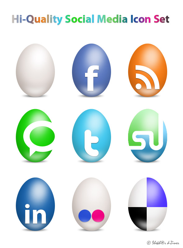 Eggs-Social-Media-Icon-Set
