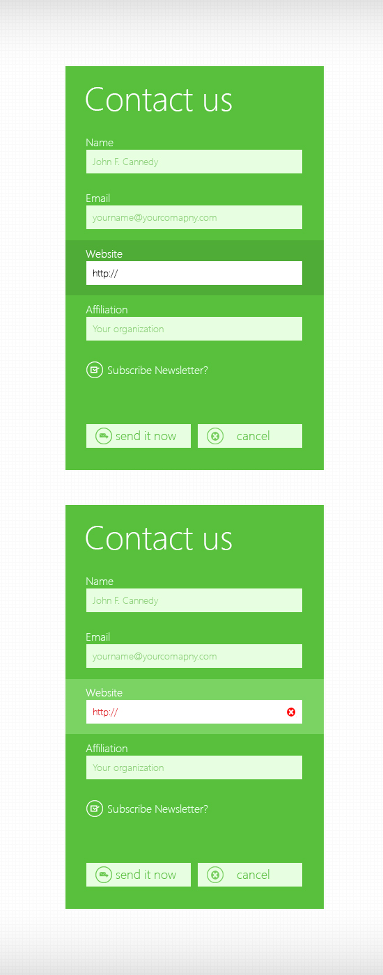 Metro Style Contact Form PSD