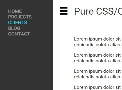 Pure CSS CSS3 Off-screen Side Navigation