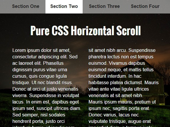 Pure CSS Horizontal One Page Scrolling