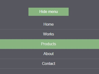 Responsive Show / Hide Navigation Menu with JavaScript and CSS3