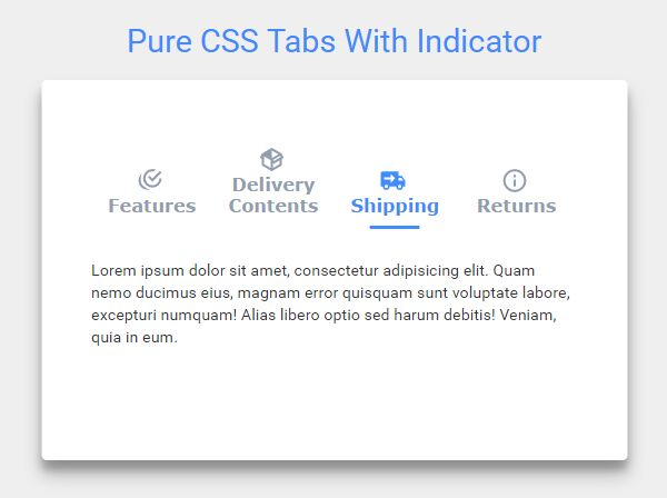 Nice Clean Tabs Component Using Pure HTML / CSS