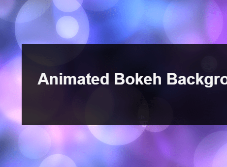 Animated Bokeh Background With JavaScript And Canvas