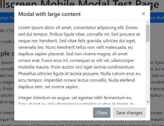 Bootstrap Mobile FullScreen Modal