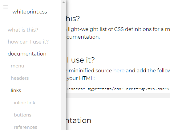 Modern CSS Framework For Documentation Pages – Whiteprint.css