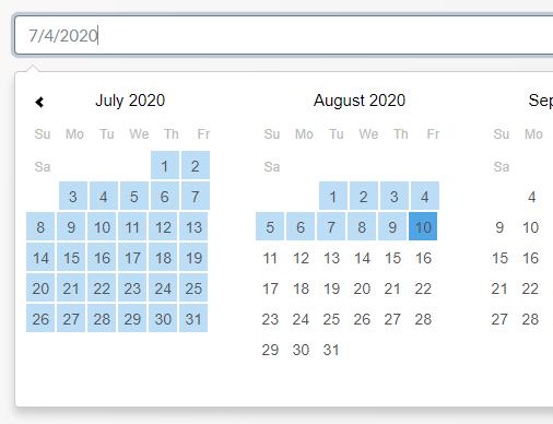 Tiny Customizable Date Range Picker - TinyPicker | CSS Script