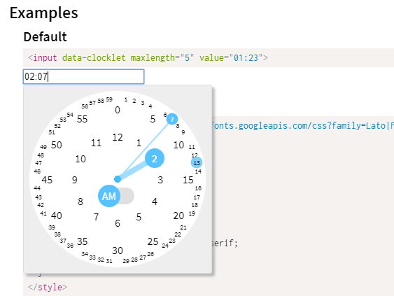 Touch-friendly Clock Time Picker Plugin - clocklet | CSS Script