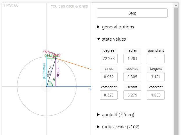 Trigonometry Visualisation Tool In JavaScript – trigonoparty