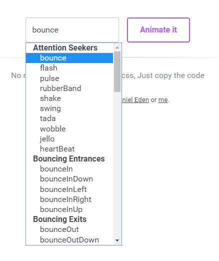 Select an animation from the dropdown