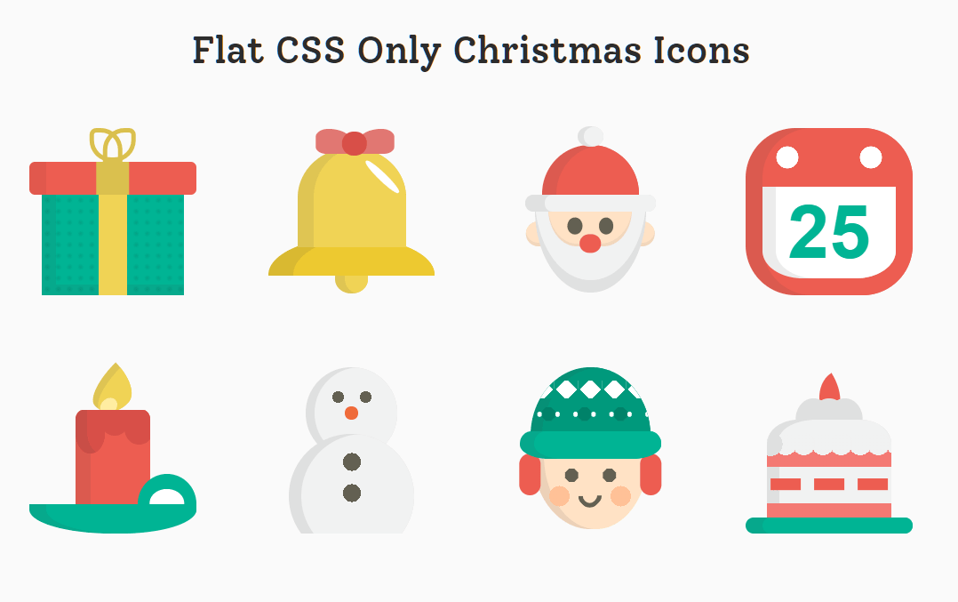 8 Flat Christmas Icons In Pure CSS