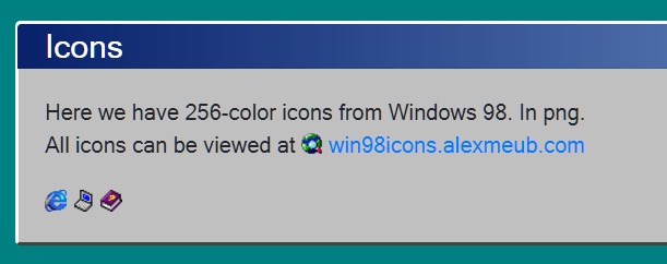 Bootstrap 4 Win 95 Theme Icons