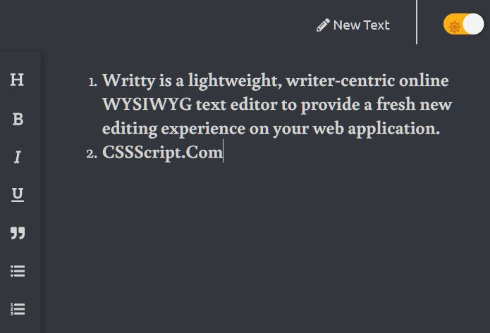 Minimal WYSIWYG Text Editor – Writty