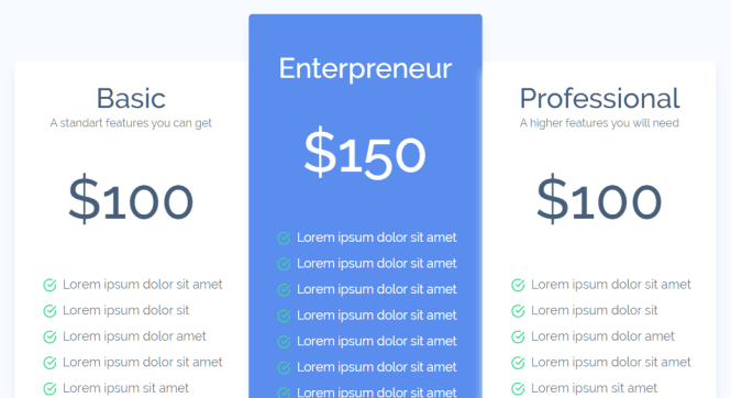 Voler Admin Dashboard Pricing Table