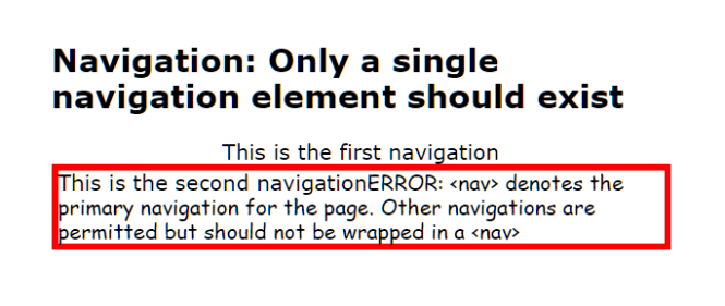 Checka11y.css Only a single navigation element should exist
