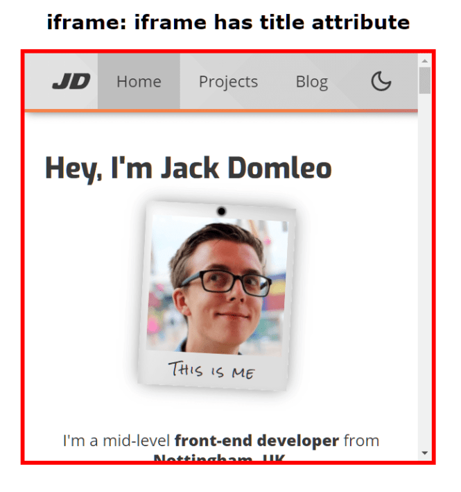 Checka11y.css iframe has no title attribute