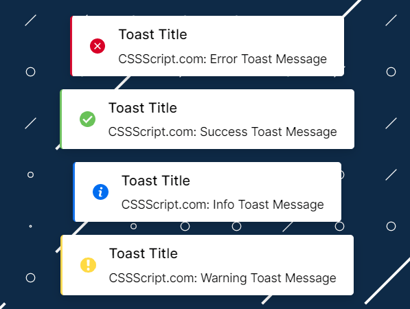 Beautiful Toast Messages For Vanilla JavaScript