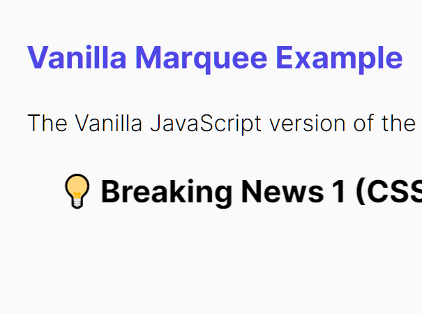 Simple Marquee Like Content Scrolling In Vanilla JavaScript