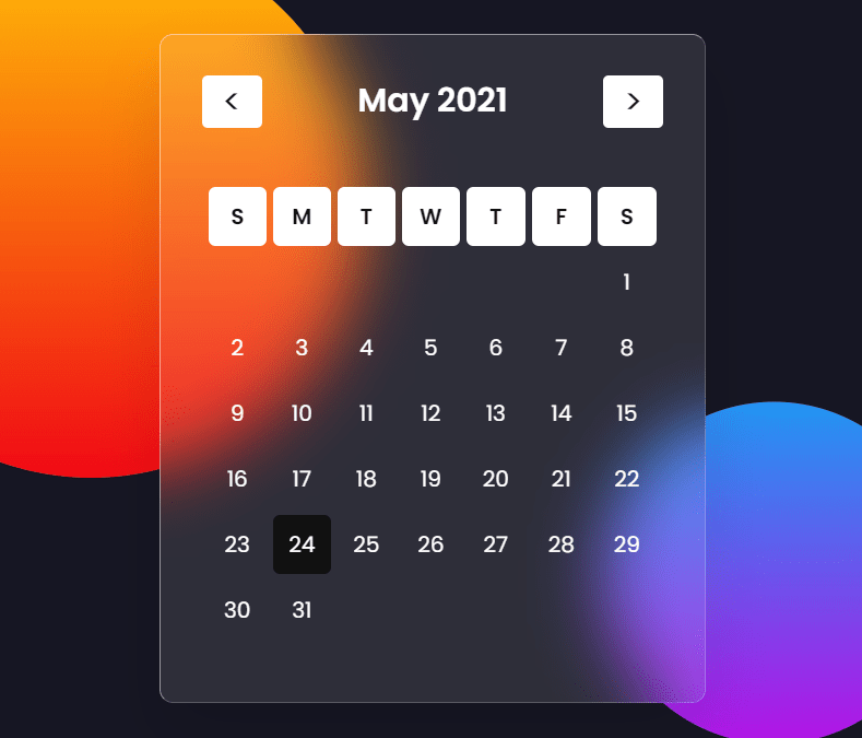 Glassmorphic Style Calendar Component With JavaScript