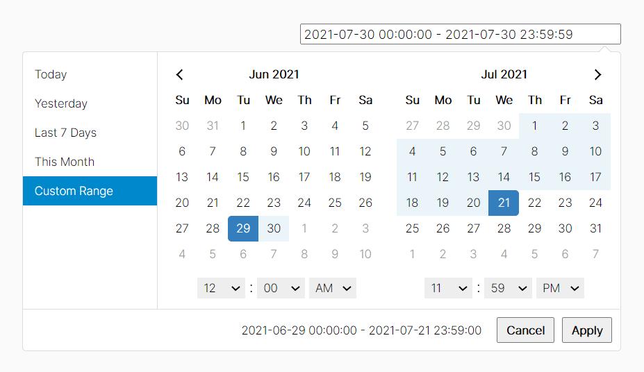 User-friendly Datetime Range Picker With Predefined Date Ranges