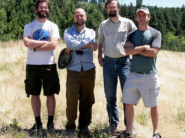 Members of the Pellmyr Lab in 2008: grad student Will Godsoe, postdoc Chris Smith, PI Olle Pellmyr, and grad student Jeremy Yoder