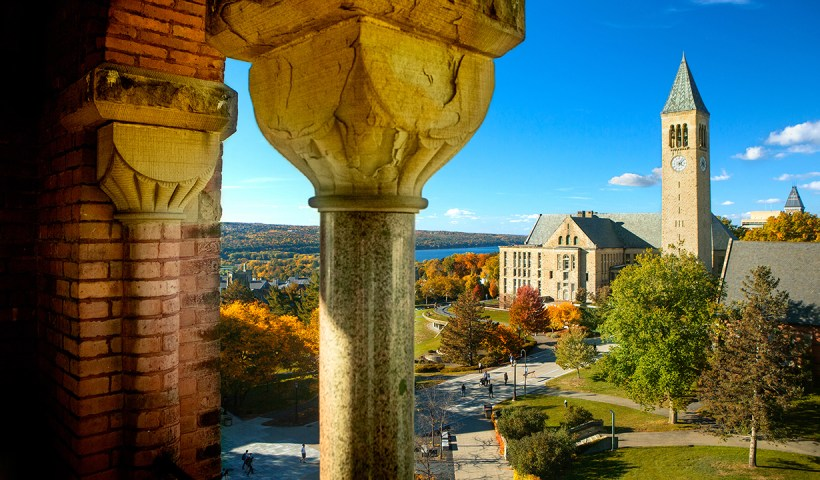 McGraw Tower, Uris Library and Ho Plaza in fall, shot from Barnes Hall.
