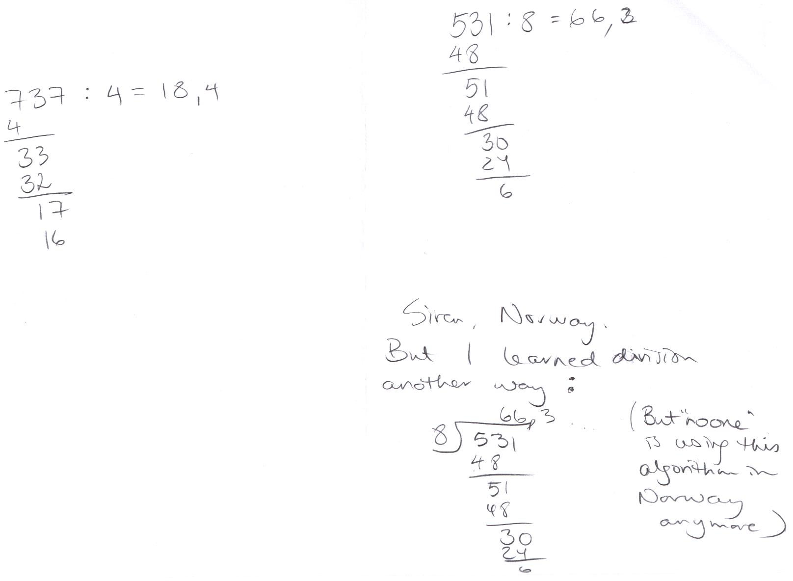 Long Division Algorithms Collected In The European Union