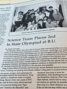 Sixteen years ago, CRLS placed second in the Massachusetts Science Olympiad