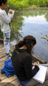 mentor and student at body of water drawing