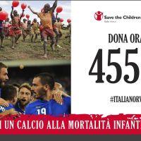 La Nazionale italiana di calcio in campo per Save the Children