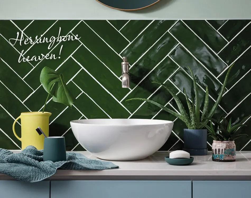 how to lay herringbone tiles