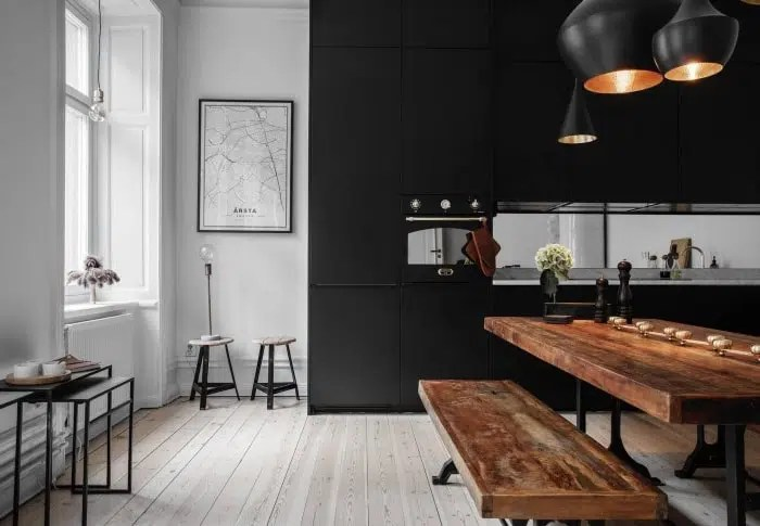 cuisine noire et bois idees et photos