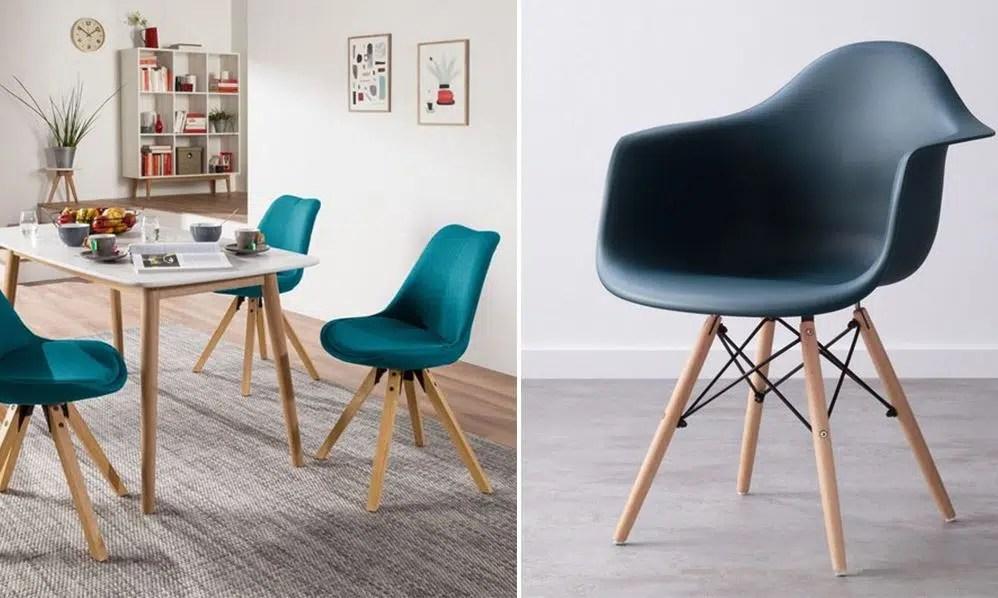 chaise scandinave bleu canard