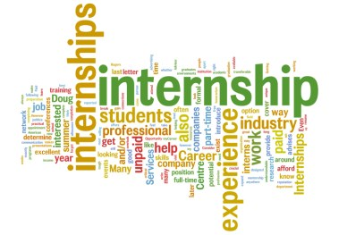 Image shows a word cloud related to internships, such as students, internship, experience, professional