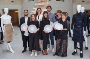 BERLIN, GERMANY - JUNE 28: The Young Fahion Designer and Award Winners Julian Weth, Katharina Buczek, Flora Sophie Taubner, Aylin Tamta, Lars Dittrich, Rani Maria Lange and Agne Alarburdaite attend the European Fashion Award FASH 2016 at Neues Museum on June 28, 2016 in Berlin, Germany. (Photo by Isa Foltin/Getty Images for SDBI.DE)