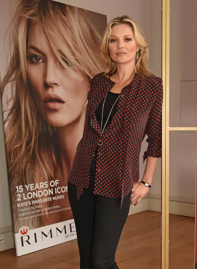 LONDON, ENGLAND - JUNE 22:  Kate Moss celebrates 15 years with Rimmel and showcases her latest Rimmel range including a new lip & nail collection, supergel, and sculpting palette on June 22, 2016 in London, England.  (Photo by David M. Benett/Dave Benett/Getty Images for Rimmel) *** Local Caption *** Kate Moss