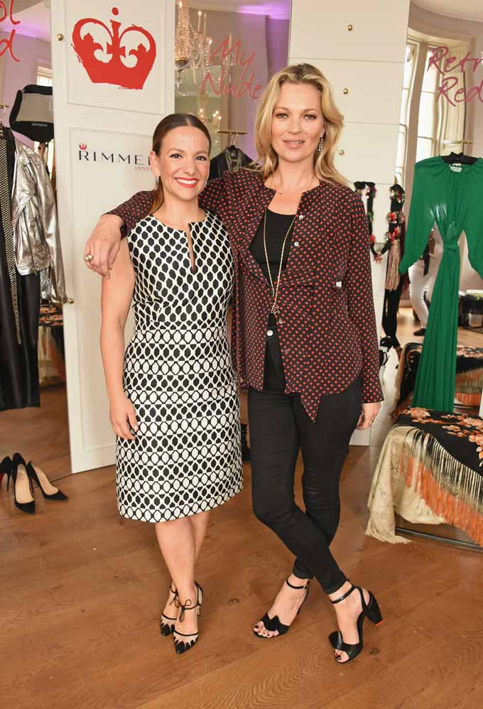 LONDON, ENGLAND - JUNE 22:  Montse Passolas (L), Vice President of Global Marketing for Rimmel, poses with Kate Moss as she celebrates 15 years with Rimmel and showcases her latest Rimmel range including a new lip & nail collection, supergel, and sculpting palette on June 22, 2016 in London, England.  (Photo by David M. Benett/Dave Benett/Getty Images for Rimmel) *** Local Caption *** Montse Passolas; Kate Moss
